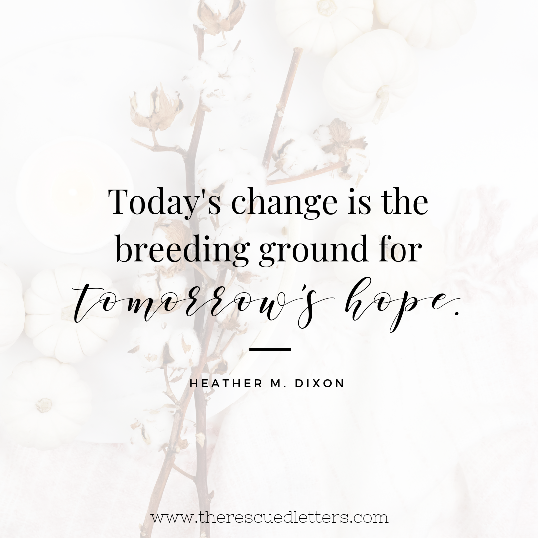 Today's change is the breeding ground for tomorrow's hope. | www.therescuedletters.com