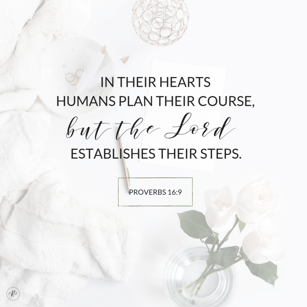 In their hearts humans plan their course, but the Lord establishes their steps | Proverbs 16:9 on a white desktop background