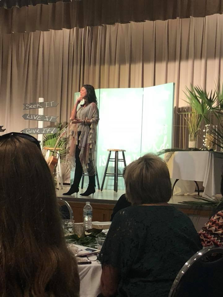 Heather M. Dixon, author, speaker, and Bible teacher, teaching on Matthew 14 at the 2018 She Found Joy national tour event in Jacksonville FL.