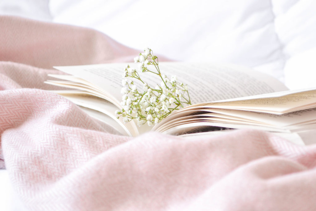 baby's breath flowers tucked in a book on a pink blanket